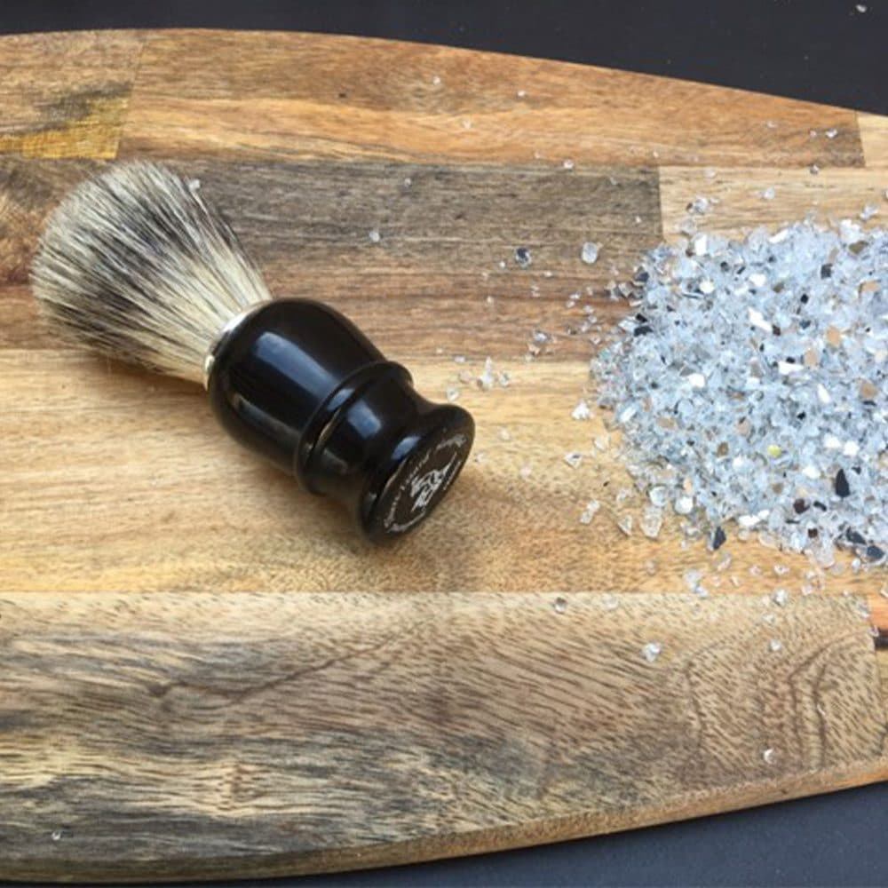 Blaireau en poil pur 21mm plastique noir